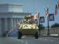 Armored fighting vehicle manned by veterans of OP Desert Storm riding on route of gulf war victory parade (on Memorial Bridge fr. VA side).  (Photo by Terry Ashe/The LIFE Images Collection/Getty Images)