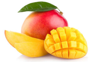 fresh mango with slices isolated on white background